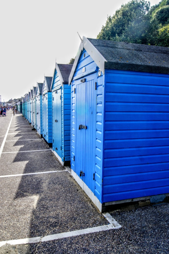 The beach huts between Bournemouth Pier and Boscombe Pier