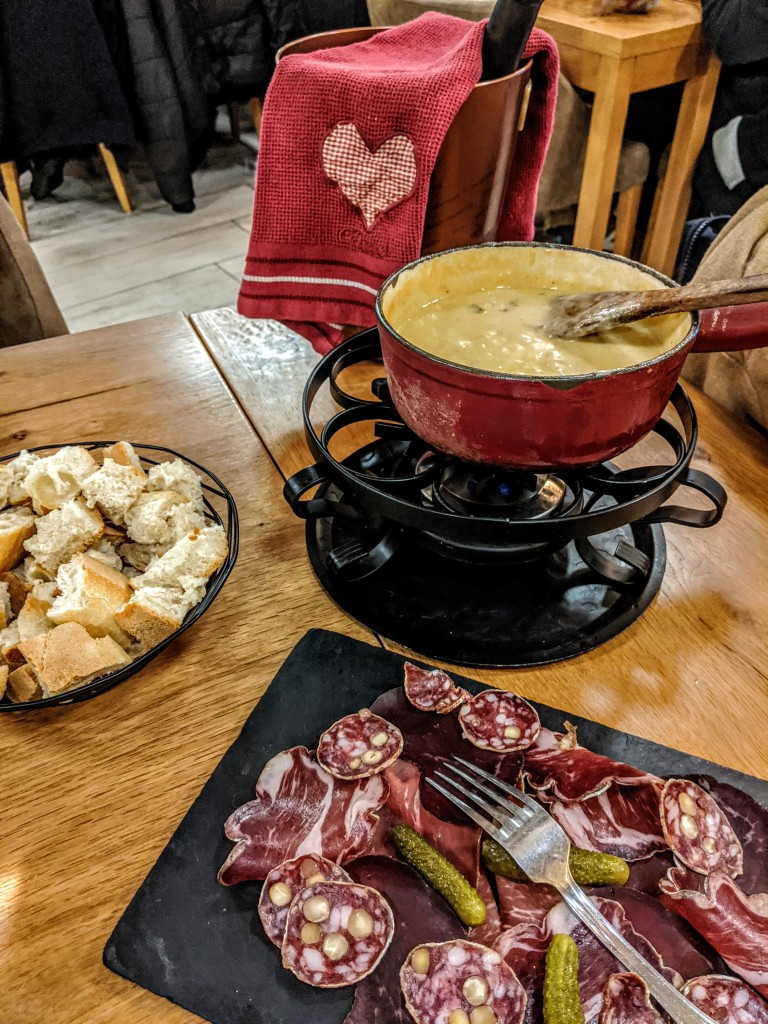 Cheese Fondue with charcutrie, Chatél in France