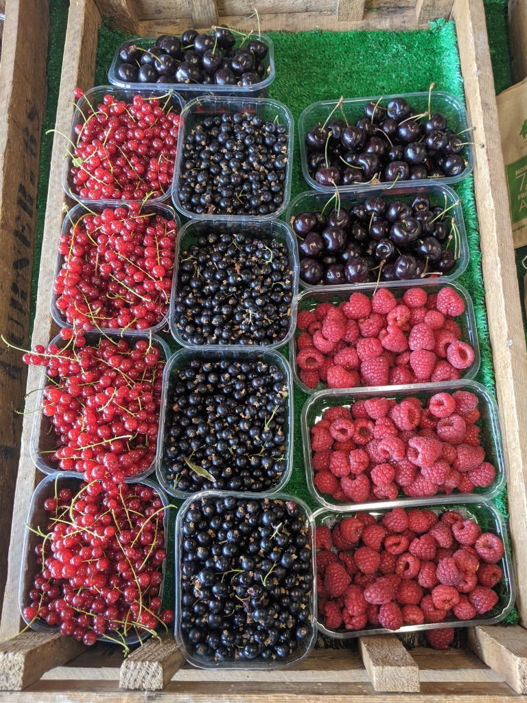 Currants and raspberries from Sopley farm
